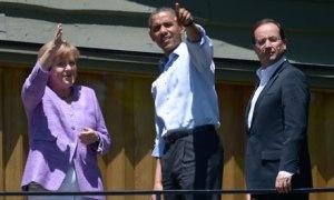 Angela Merkel, Barack Obama, and Francois Hollande at the G8 summit